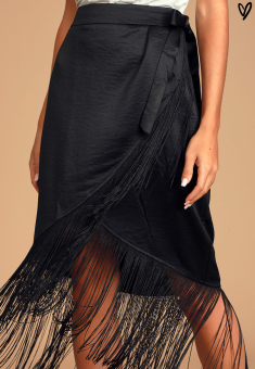Lulus: Fringe Midi Skirt
