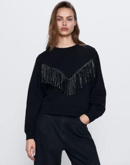 ZARA: Combination Fringe Sweatshirt