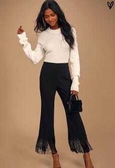 Lulus: Catch a Crush Black Fringe Cropped Pants