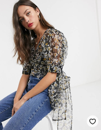 ASOS: Wrap Around Floral Top with Volume Sleeves