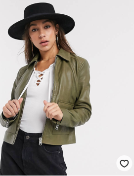 ASOS: Object Leather Jacket with Pockets in Olive