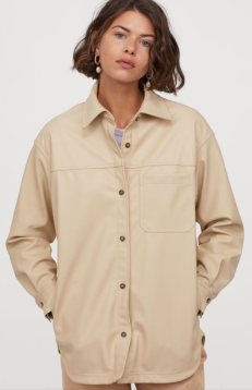 H&M: Faux Leather Shirt Jacket