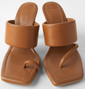 ZARA: Heeled Leather Sandals with Padded Strap