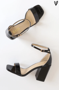 Lulus: RAID Raelynn Black Croc Patent Square-Toe Ankle Strap Heels