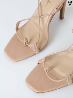 Lulus: Lulus Lyllian Nude Square Toe Lace-Up Heels